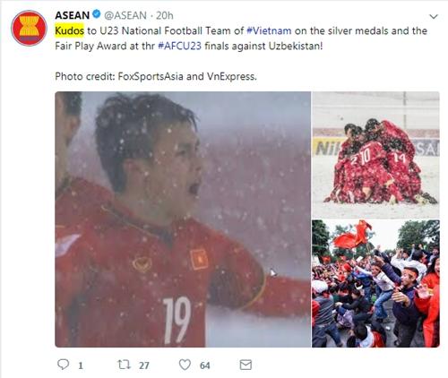 ASEAN chúc mừng các tuyển thủ Việt Nam. Ảnh chụp màn hình: Twitter.