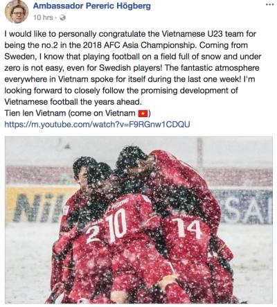 Đại sứ Thụy Điển gửi lời chúc mừng đội tuyển U23 Việt Nam. Ảnh chụp màn hình: Facebook Đại sứ