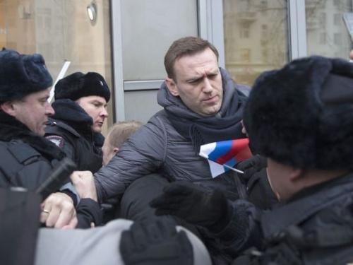 Ông Navalny bị bắt hôm qua ở Moscow. Ảnh: AP.