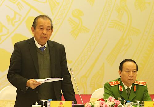 Phó thủ tướng Thường trực Trương Hoà Bình phát biểu tại hội nghị ngày 29/1. Ảnh: Võ Hải.