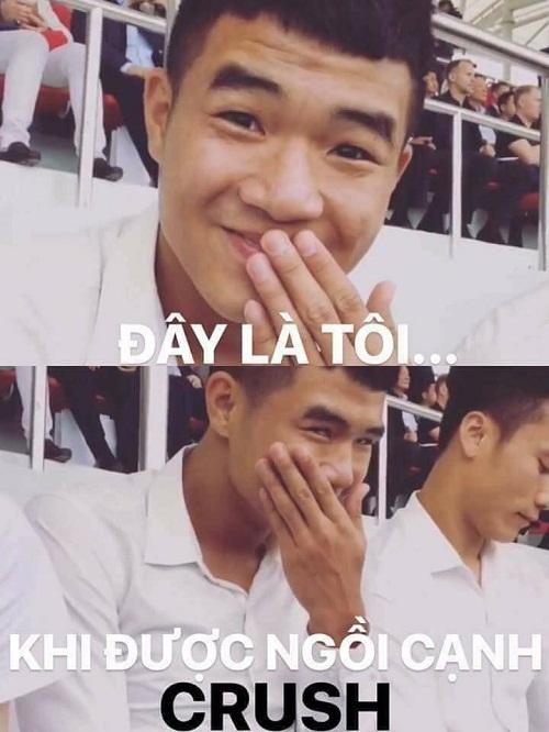 Biểu cảm hài hước của cầu thủ Hà Đức Chinh.