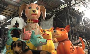 Linh vật chó Phú Quốc cao 2 mét cho đường hoa Nguyễn Huệ