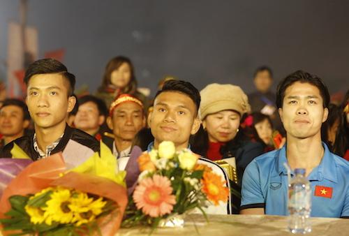 3 cầu thủ gồm Phan Xuân Đức; Phạm Xuân Mạnh và Nguyễn Công Phượng (từ trái qua phải). Ảnh: Quang Vinh.