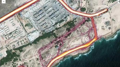 Tuyến đường chạy bộ trong ứng dụng hé lộ cơ sở của Cục tình báo trung ương Mỹ ở Somalia. Ảnh chụp màn hình ứng dụngStrava Labs.