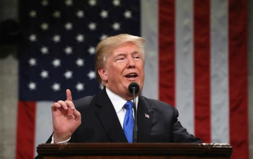 Trump đọc Thông điệp Liên bang trước quốc hội Mỹ ngày 30/1. Ảnh: AFP.