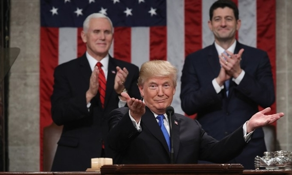 Tổng thống Mỹ Donald Trump đọc Thông điệp Liên bang tại quốc hội ngày 30/1. Ảnh: AFP.
