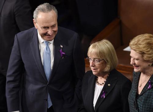 Ông Chuck Schumer (trái) cùng các thượng nghị sĩ đeo ruy băng tím tại buổi đọc Thông điệp Liên bang. Ảnh: AFP.