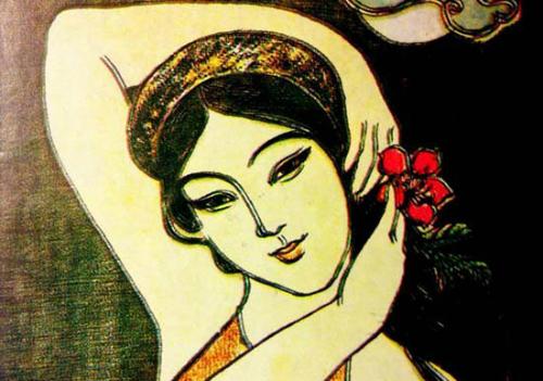 Tranh minh họa chân dung Hồ Xuân Hương. Tranh: Internet