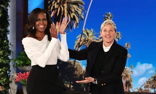 Cựu đệ nhất phu nhân Mỹ Michelle Obama xuất hiện trong chương trình Ellen. Ảnh: People.