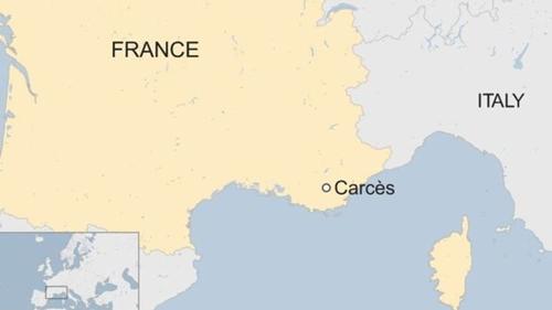 Vị trí vùng Carces, Pháp.