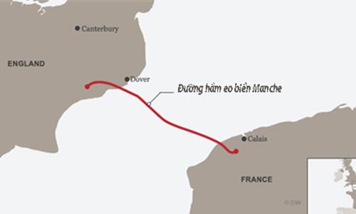 Calais là điểm người di cư tập trung để sang Anh. Đồ hoạ: DW.