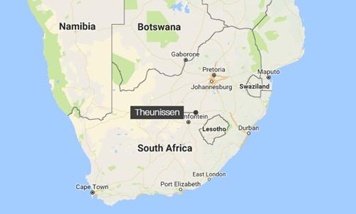 Vị trí thị trấn Theunissen, Nam Phi. Đồ họa: Google Maps.