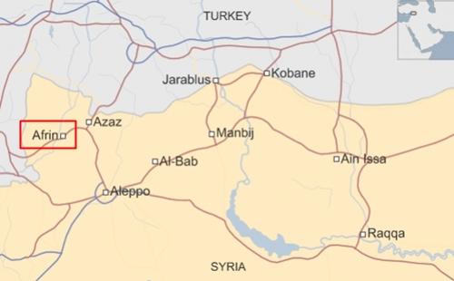 Vị trí thành phố Afrin, Syria. Đồ họa: BBC.