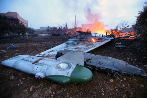 Hiện trường vụ Su-25 Nga bị bắn rơi ở Syria. Ảnh: AFP.