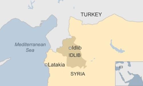 Vị trí tỉnh Idlib. Đồ hoạ: BBC.