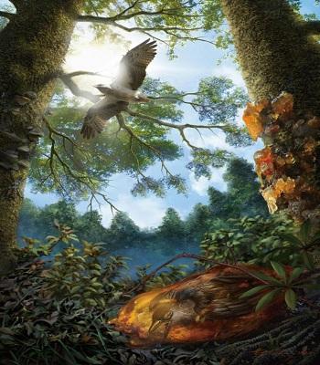 Phục dựng con chim mắc kẹt trong khối nhựa cây sau này hóa thành hổ phách. Ảnh: National Geographic.