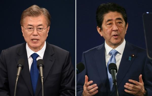 Tổng thống Hàn Quốc và Thủ tướng Nhật. Ảnh: