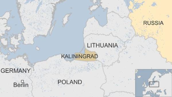 Vị trí vùng lãnh thổ Kaliningrad, Nga. Đồ họa: BBC.