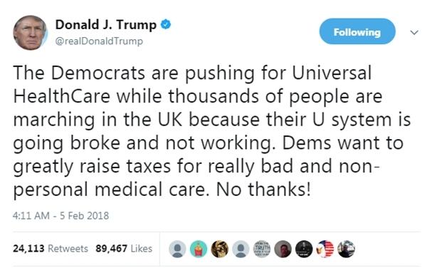 Tổng thống Mỹ Donald Trump công kích hệ thống y tế ở Anh. Ảnh: Twitter/@realDonaldTrump.