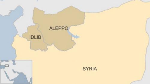 Tỉnh Idlib và Aleppo ở miền bắc Syria. Đồ họa: BBC.
