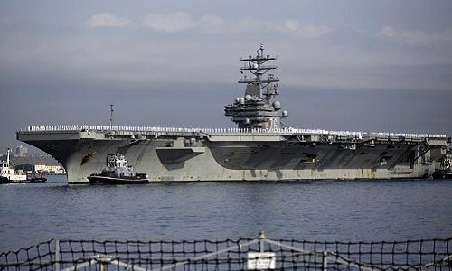 Tàu sân bay USS Ronald Reagan của hải quân Mỹ. Ảnh: AP.