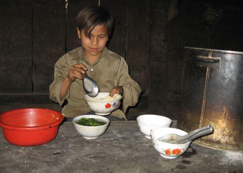 Mâm cơm mùa giáp hạt của người dân ở Bảo Lạc, Cao Bằng. Ảnh minh họa:Sơn Thủy.