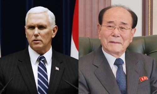 Phó tổng thống Mỹ Mike Pence và Chủ tịch quốc hội Triều Tiên Kim Yong-nam. Ảnh: AFP/Wikipedia.