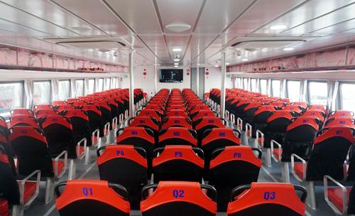 Thiết kế bên trong tàu cao tốc tuyến Sài Gòn - Cần Giờ - Vũng Tàu. Ảnh: Hữu Công