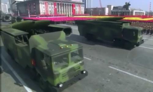 Loại tên lửa mới xuất hiện trong lễ duyệt binh của Triều Tiên. Ảnh: Twitter.