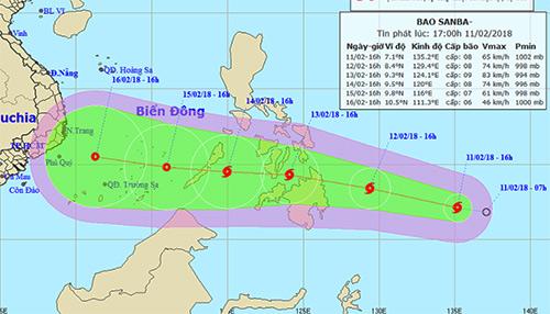Dự báo đường đi và khu vực ảnh hưởng của bão. Ảnh: NCHMF