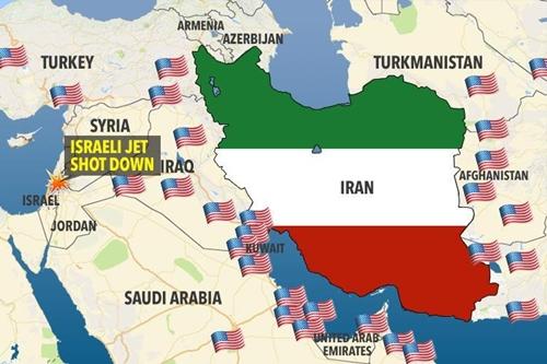 Vị trí các căn cứ quân sự Mỹ tại Trung Đông. Đồ họa: Sun.
