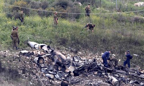 Hiện trường tiêm kích F-16 rơi trên lãnh thổ Israel. Ảnh: IDF.