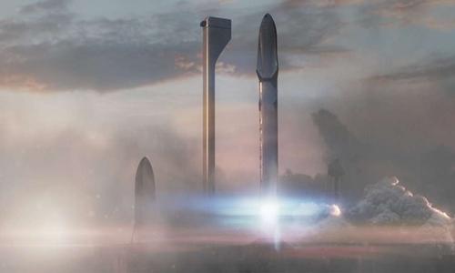 Hệ thống tên lửa BFR lớn hơn nhiều so với tên lửa mạnh nhất thế giới hiện nay Falcon Heavy. Ảnh: SpaceX.