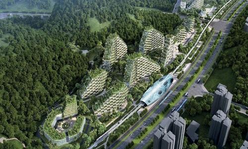Một góc Thành phố rừng nhìn từ trên cao theo bản vẽ của công tythiết kế. Ảnh:Stefano Boeri Architetti.
