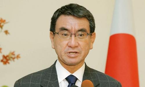 Ngoại trưởng Nhật Bản Taro Kono. Ảnh: Kyodo.