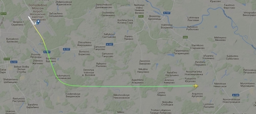 Hành trình bay của máy bay Nga. Đồ họa: Flightradar.