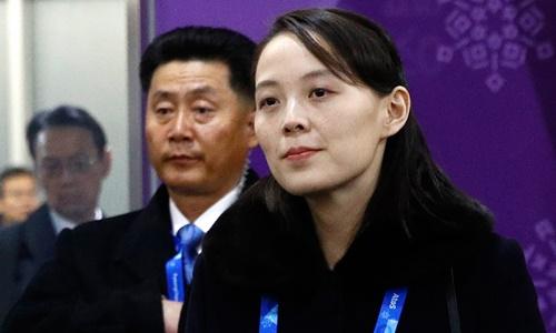Kim Yo-jong, em gái nhà lãnh đạo Triều Tiên Kim Jong-un, tại Hàn Quốc ngày 9/2. Ảnh:AFP.