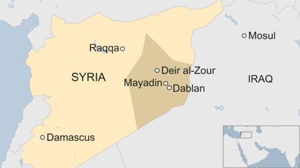 Vị trí tỉnh Deir Ezzor, Syria. Đồ họa: BBC.