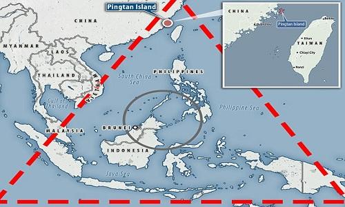 Đảo Bình Đàm (chấm đỏ) nằm trong khu vực được mệnh danh là Tam giác Bermuda châu Á. Ảnh: Long Room.