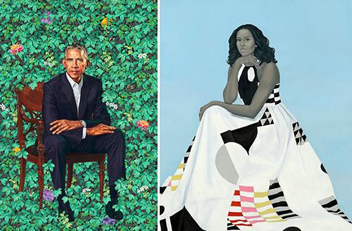 Hai bức chân dung của vợ chồng Obama. Ảnh: Wiley, Sherald