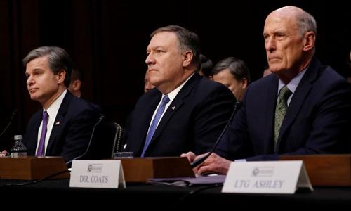 Từ trái sang, giám đốc FBI Christopher Wray, giám đốc CIA Mike Pompeo và giám đốc NIS Dan Coats. Ảnh: Sky News.
