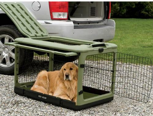 Loại chuồng chó này có thểgấp lại để sau cốp xe, chất liệu cứng cáp, có thể để hàng hoá hoặc đồ thể thao lên trên. Thiết kếmột cửa bản lề ở mỗi đầu, một cửa lật lên,một cửa bên hông xe và bánhxe lăn di chuyển. Các góc bo tròn bảo vệ nội thất xe. Mẫu chuồng chó này phù hợp với hầu hết các loại xe.