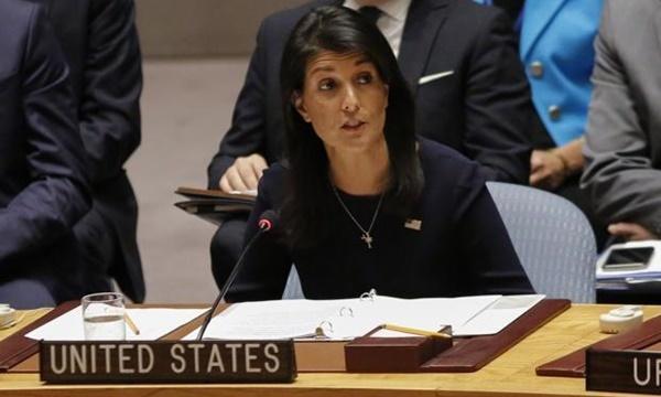 Đại sứ Mỹ tại Liên Hơp Quốc Nikki Haley. Ảnh: AFP.