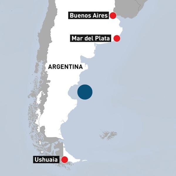 Vị trí tàu ngầm ARA San Juan mất tích. Đồ họa: CBC.