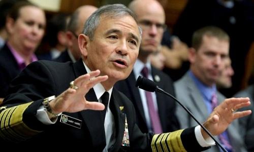 Đô đốc Harry Harris, Tư lệnh Bộ chỉ huy Thái Bình Dương,Mỹ. Ảnh:Reuters.