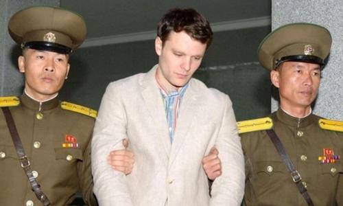Otto Warmbier bị giam ở Triều Tiên năm 2016. Ảnh: KCNA.