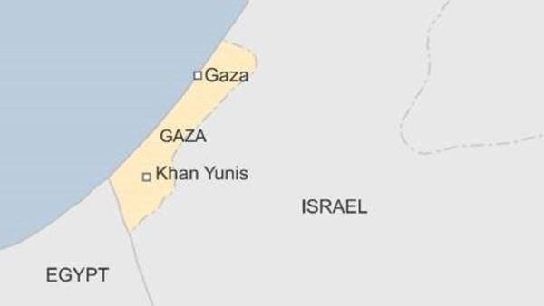 Vị trí thành phố Khan Yunis, Gaza. Đồ họa: BBC.