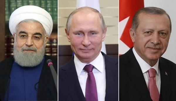 Từ trái sang, Tổng thống Iran Hassan Rouhani, Tổng thống Nga Vladimir Putin, Tổng thống Thổ Nhĩ Kỳ Tayyip Erdogan. Ảnh: Alalam.
