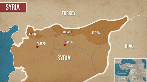 Khu vực Afrin nằm giữa biên giới Thổ Nhĩ Kỳ và Syria. Đồ họa: Alaraby.