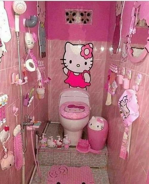 Nhà vệ sinh của hội cuồng Hello Kitty.